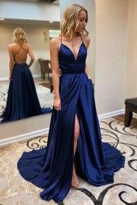 Sexy A-Line Long Satin Evening Dresses with Pockets Side Slit Criss Cross Back Navy Blue Abendkleider Robes de Soirée for Women