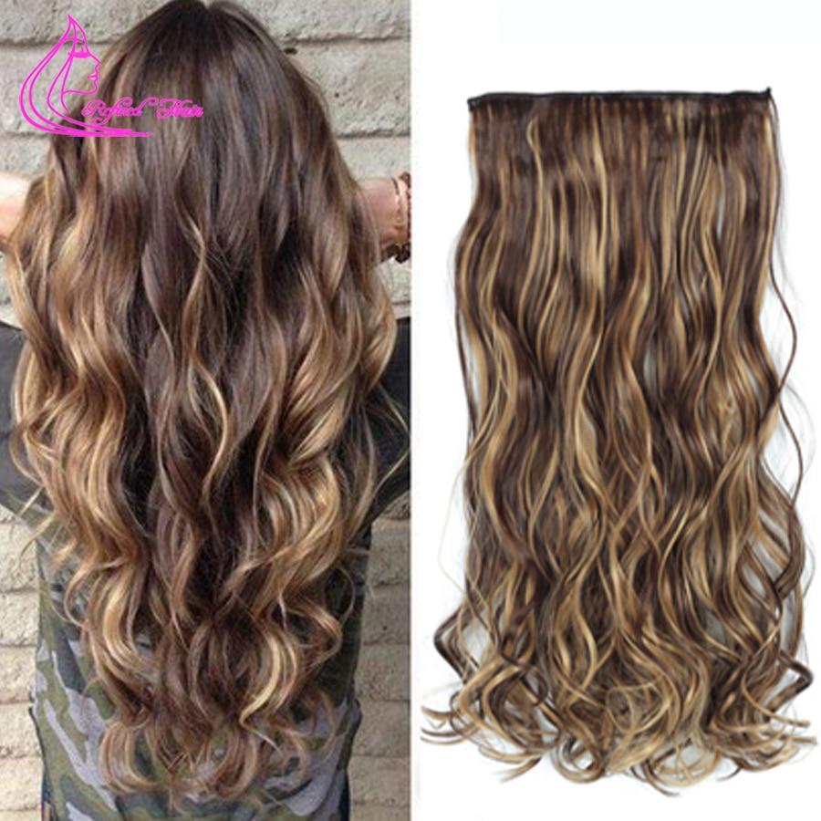 """Pelo refinado 22 """"Mujeres Clip en extensiones de cabello pelo falso onda larga secreto hilo invisible resistente al calor sintético postizo"""