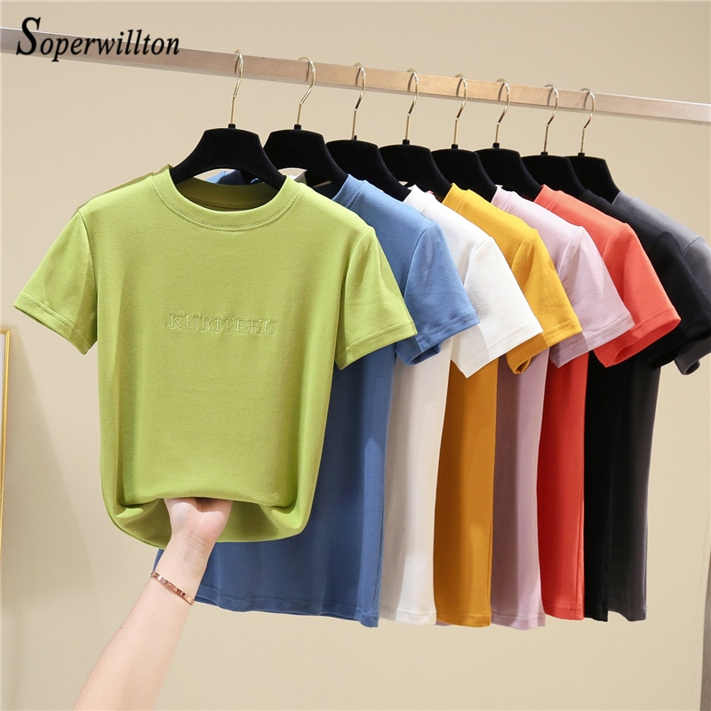 New Soft Cotton Female T-Shirt Short Sleeve 8 Color 2020 Summer Tshirt For Women Ladies Tops Fashion Shirts high quality T Shirt