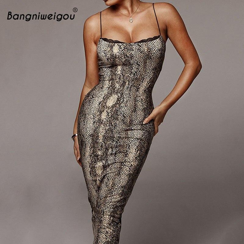 Bangniweigou señoras Snakeskin leopardo estampado Midi vaina Bodycon Sling vestido de noche de fiesta largo bata de verano Backless Club vestido
