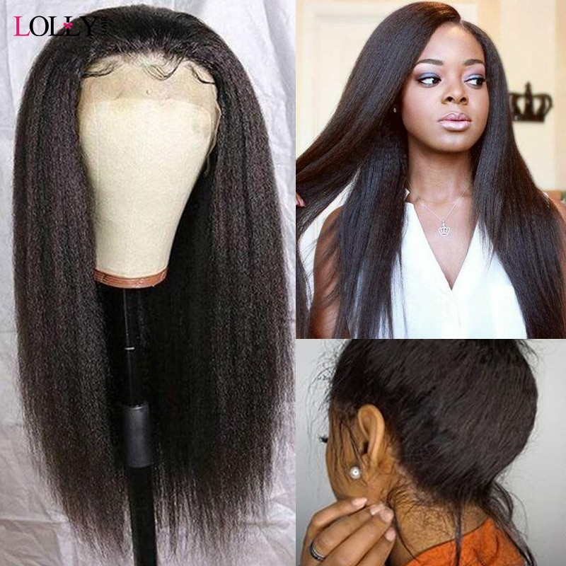 Yaki Straight Lace Front Wig Remy 13X4/13X6 Brazilian 360 Lace Frontal Wig 150% 180% 250% Lace Front Human Hair Wigs Pre Plucked