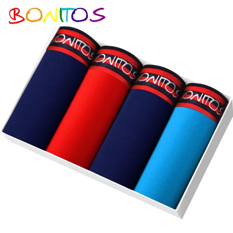 BONITOS Boxer Shorts Men 4 pcs/lot Underwear For Men Cotton Men Pants Bamboo Mariconera Calecon Male Underpants Sexy Bran