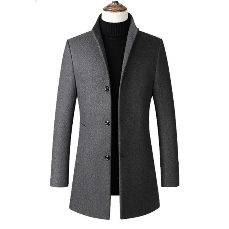 Abrigo largo informal de negocios para hombre, chaqueta Erkek Giyim Lanas, moda...