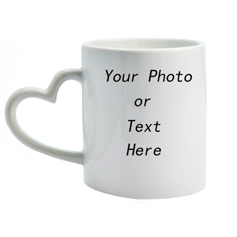 Tasse de café en céramique blanche   Bricolage tasse créative en forme de cœur, texte ou Logo imprimable personnalisable pour amis et cadeau damants