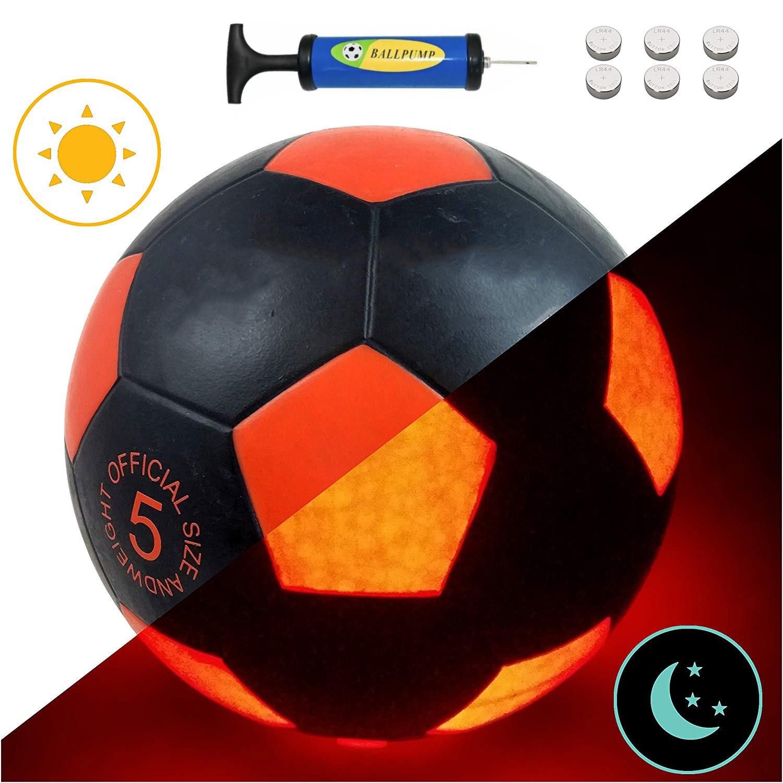 Balón de entrenamiento de fútbol de tamaño oficial 5 con luz LED edición roja que brilla en la oscuridad Bolas brillantes de LED superbrillantes