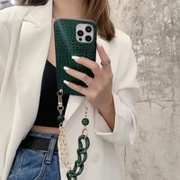 fashion crocodile pattern phone case for iphone 12 mini 11 pro xr x xs max 6 6s 7 8 plus se new crossbody lanyard necklace cover