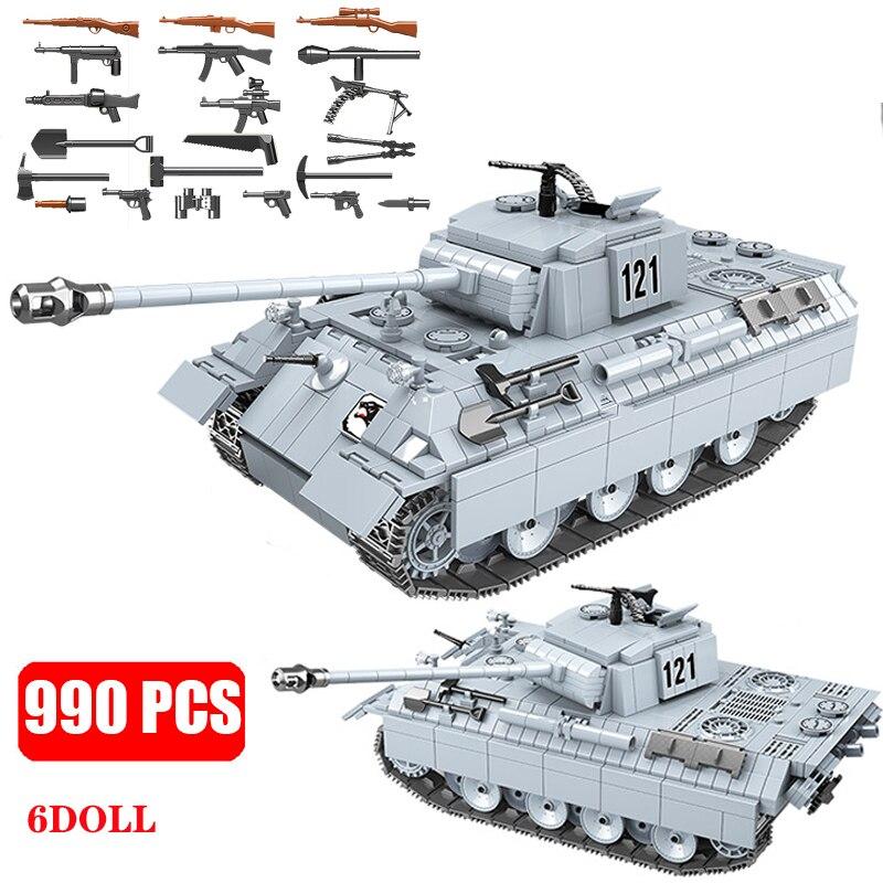 Militar ww2 soldado panther tanque 121 blocos de construção modelo cidade técnica ww2 tanque arma do exército tijolos meninos brinquedos para crianças