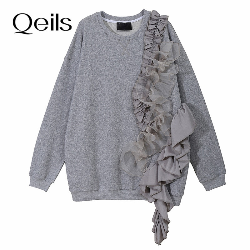 Qeils Casual Fashion Spring Autumn 2021 Loose Fit Gray Ruffles Irregular Sweatshirt New Round Neck L