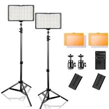 2 set Led video licht Kit TL-160S 3200 K/5500 K fotografie Beleuchtung Dimmbare Video Licht Ultra High Power panel mit Stativ