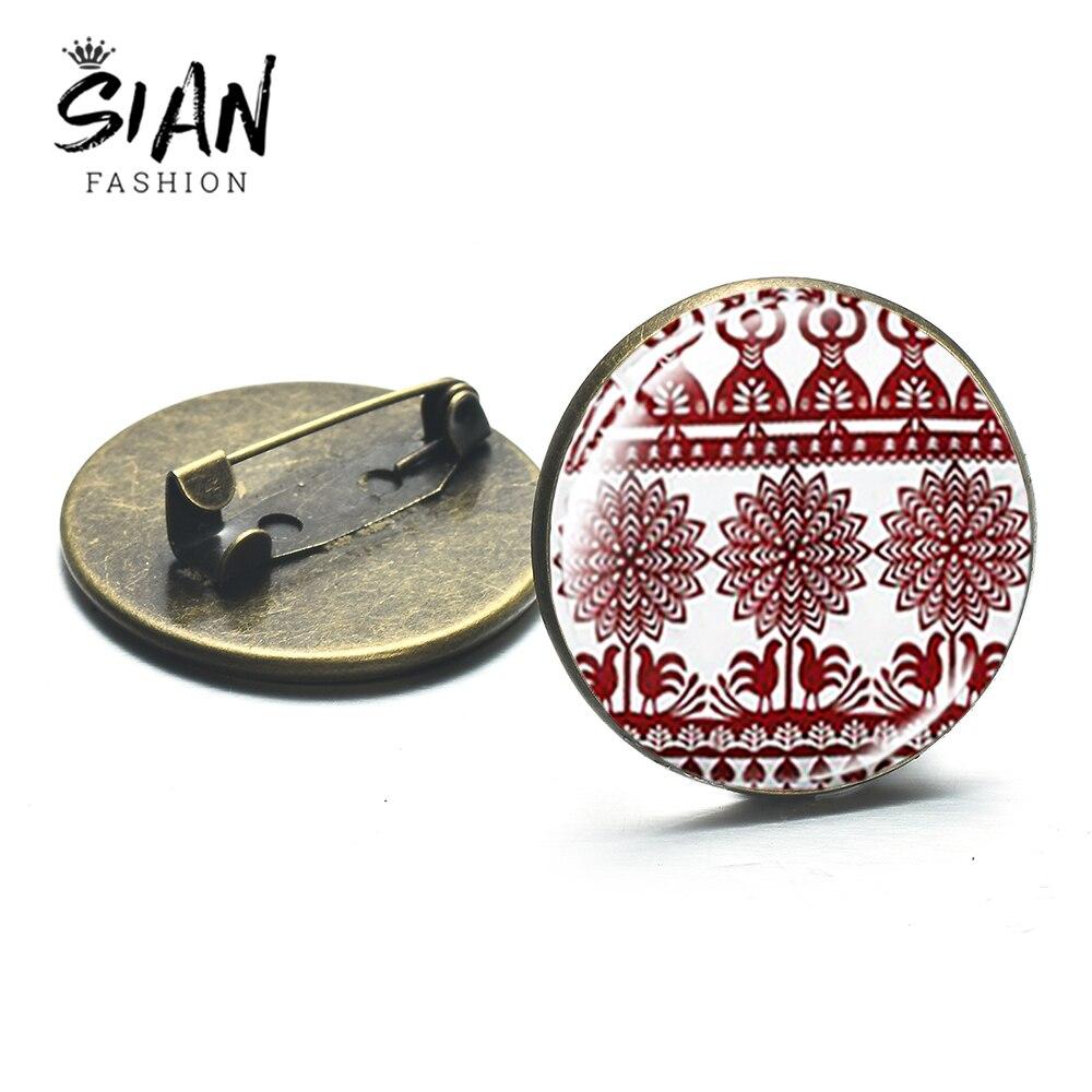 SIAN Vintage moderno papel-Corte flor patrón broches polaco arte popular cristal redonda insignia Pin moda encanto Mandala serie joyería