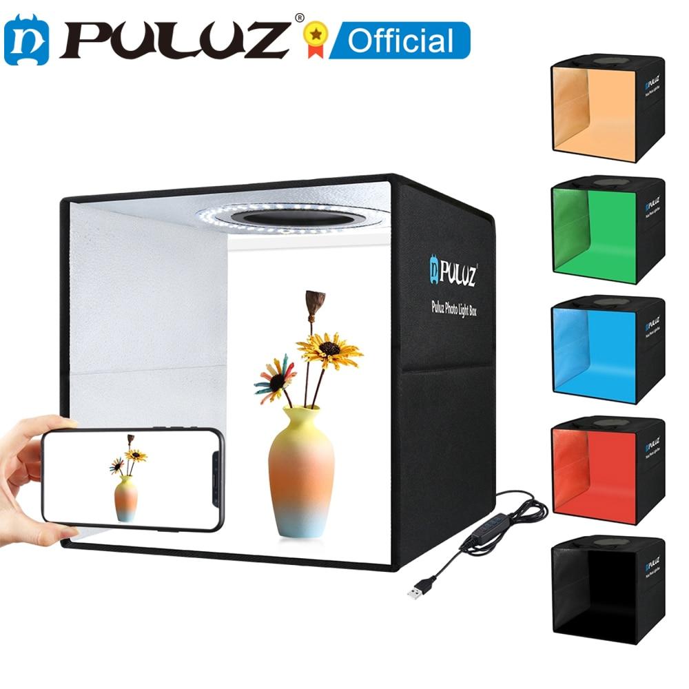 PULUZ 30cm Photo Studio Ring LED Light Box Shooting Tent Desktop Box Kit with 6 Colors Backgrounds Photography LightBox Kits 5V