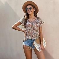 yikiuo womens summer chiffon shirt blouse floral short sleeved v neck comfortable and fashionable blouse 2021