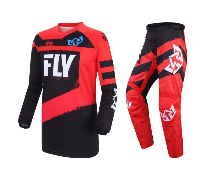 Free shipping 2019 Fly Fish Racing Red MX Jersey Pant Combo ATV BMX MTB Motorcycle Racing Bike Riding Adult Gear Set
