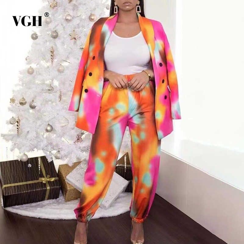 Женский комплект из двух предметов VGH, блестящее пальто на пуговицах, шаровары с высокой талией, Модная стильная одежда, новинка 2021