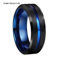 men women black blue ring tungsten wedding band 8mm satin finish grooved and beveled comfort fit
