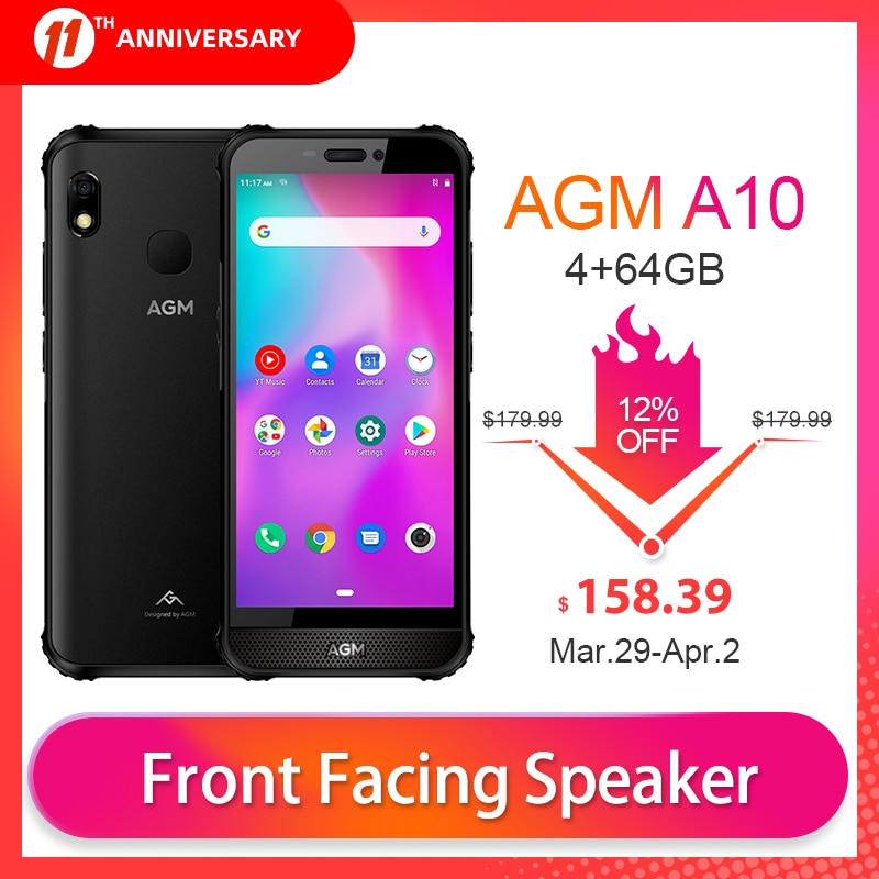 OFFICIAL AGM A10 4+64G Rugged Phone Android™ 9  4G LTE 5.7