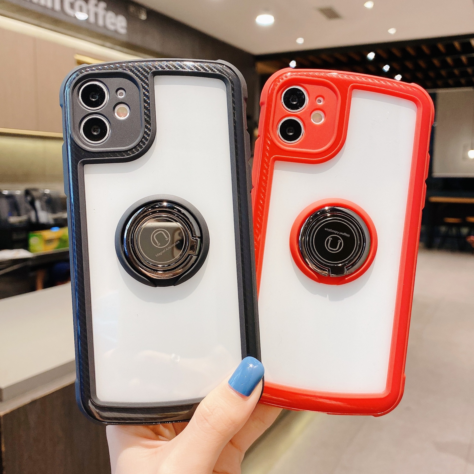Luxury Ring Case For Apple iPhone 11 12 Pro Max mini SE 2020 X XR XS Max 7 8 Plus Holder Stand Milit