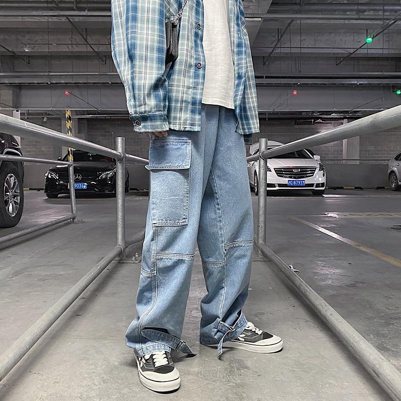 Нейтральные брюки, повседневные мужские джинсы в стиле хип-хоп, Широкие джинсовые брюки, свободные прямые мешковатые мужские джинсы, улична...