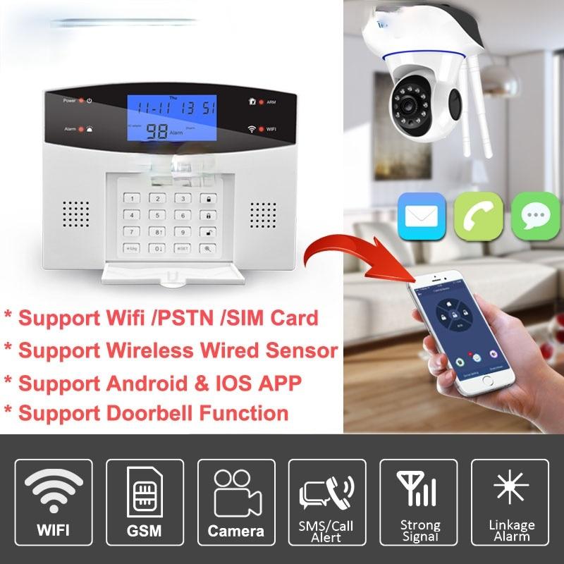 Wifi GSM Home Burglar Alarm System 433MHz Detector Alarm Support Telephone Line PSTN & SIM Card Voice Intercom Wifi APP Relay enlarge
