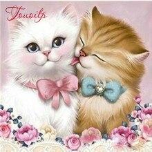 Diamant peinture chat bricolage 3D diamant broderie Couple chaton dessins Rose amoureux Animal mariage perles broderie Kits