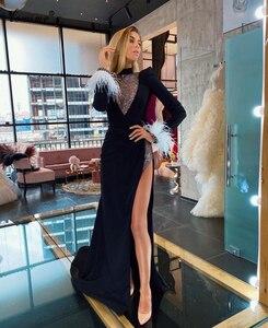 Muslim Black Formal Evening Dresses Long Sleeves Mermaid Evening Gowns Dubai Prom Dresses Evening Wear Robe De Soiree Vestidos