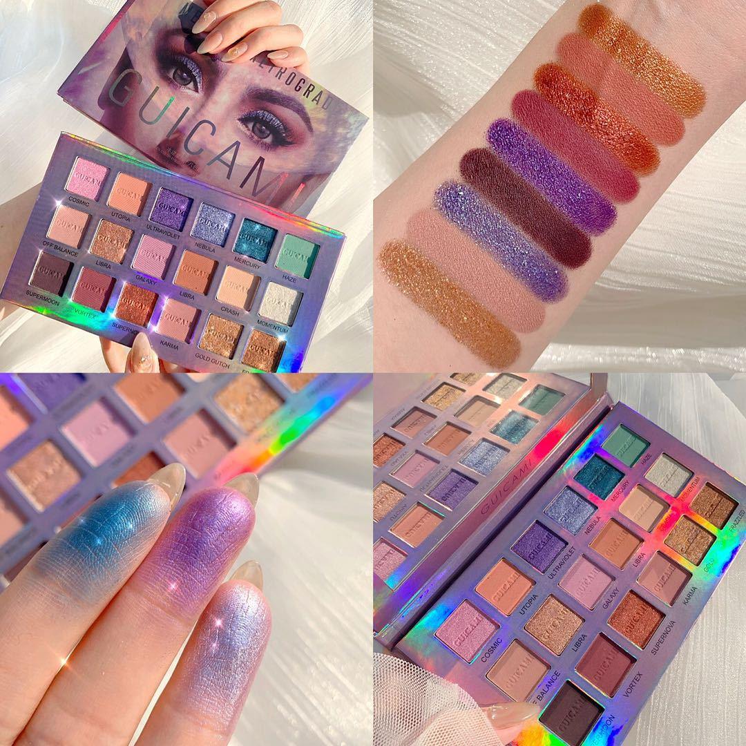 UCANBE marka oczy kosmetyki 18 kolorów zmierzch i zmierzch paleta cieni do oczu do makijażu Shimmer & Glitter Powder matowy cień do powiek makijaż