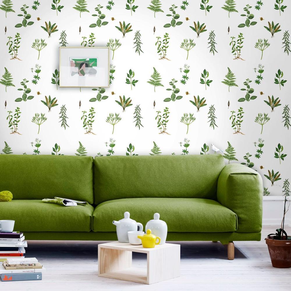 Papel tapiz de plantas verdes frescas y tropicales de primavera con helecho de avestruz, para sala de estar, dormitorio PW423211001