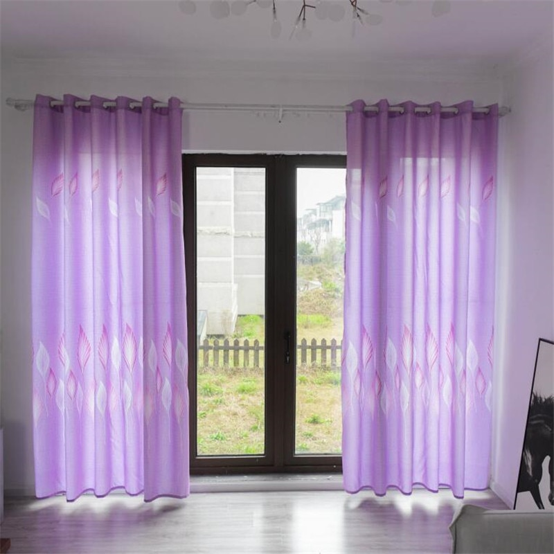 Elegant Fine Rubber Leaf Print Chiffon Gauze Screens Printed Curtains Drape Style Drapery Fiber
