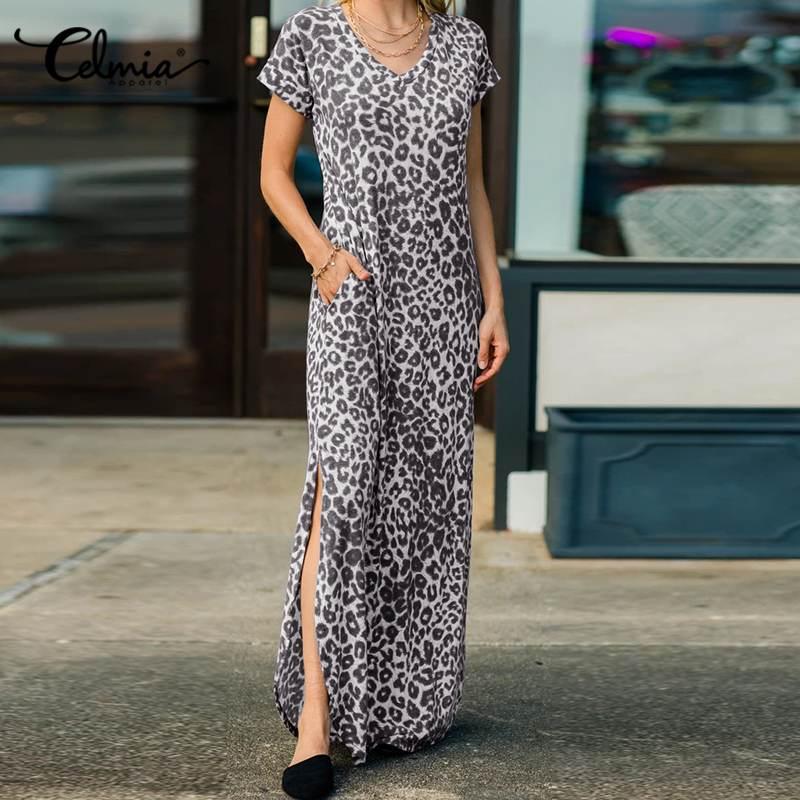 Celmia Fashion Leopard stampato Maxi Dresse donna 2021 estate Casual manica corta tasca prendisole elegante scollo a v fessura orlo Vestido