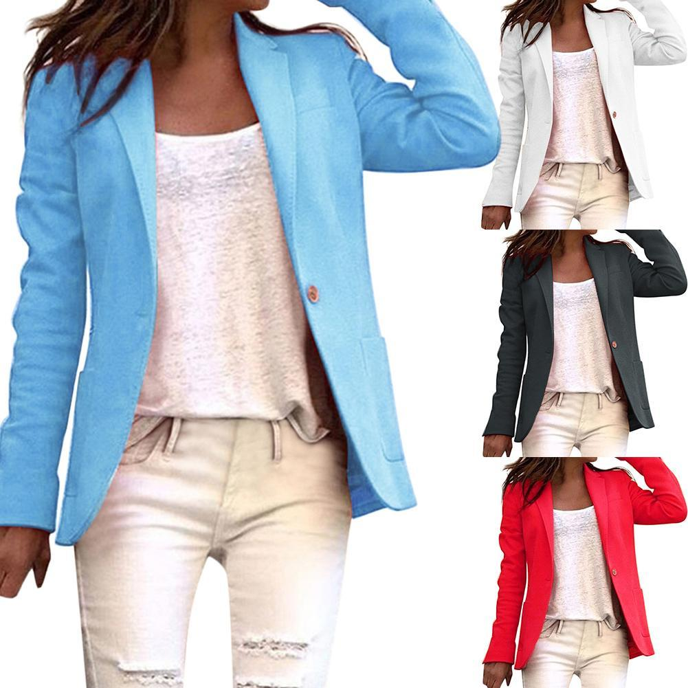 Office Lady Solid Color Single Button Blazer Long Sleeve Suit JacketBasic Coat