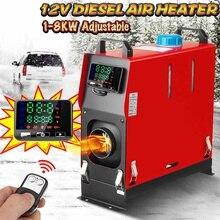 Tout en un 1-8KW 12V réglable voiture diesels réchauffeur dair un trou voiture chauffage pour camions camping-cars bateaux Bus + LCD interrupteur à clé