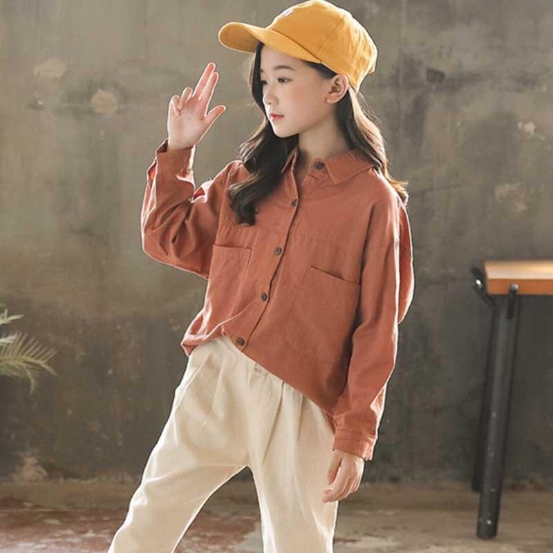 2020 Spring Blouse Shirt Long Sleeve School Girl Kids 100% Cotton Children Fall Girls Blouses Teenage Autumn Kids Children Shirt