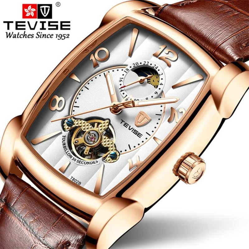 Man Watch Mechanical Watch For Men Fashion Automatic Watch Men Moon Phase Rectangular Leather Watche