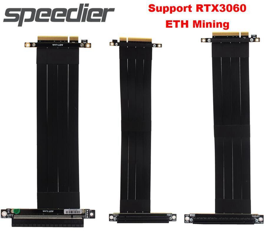 PCIe الناهض PCI اكسبرس x8 إلى x16 تمديد BTC كابل مناجم RTX3060 بطاقة جرافيكس عمودي وحدة معالجة الرسومات لبيتكوين ETH E0S BCH XPR التعدين