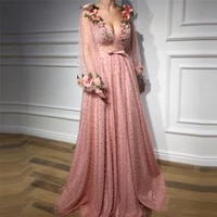 v neck long sleeves a line prom dresses full pearls beaded lace appliques custom women evening party gowns special occasion wear