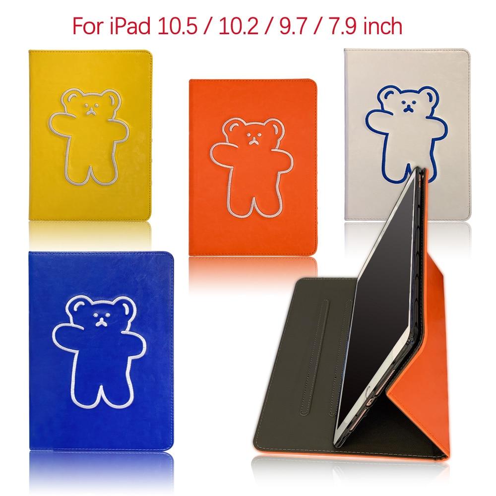 """Skórzana kreskówka niedźwiedź dla iPad 7. Generacji 10.2 """"sprawa wielobarwna pokrywa dla iPad Air 2 Case 9.7"""" iPadmini 5 7.9 """"okładka"""