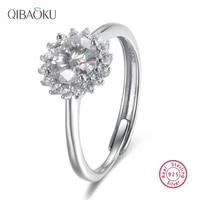 moissanite 925 sterling silver open adjustable rings sun flower wedding engagement rings fine jewelry for women