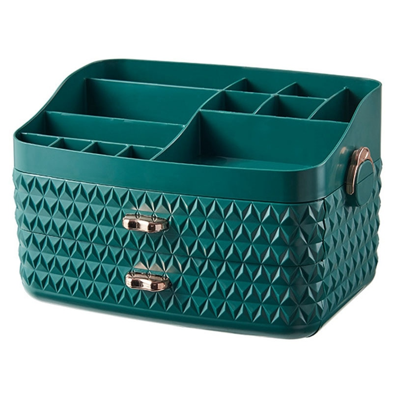 صندوق تخزين مستحضرات التجميل بسعة كبيرة ، منظم مكياج ، درج مكتب ، مجوهرات ، ورنيش