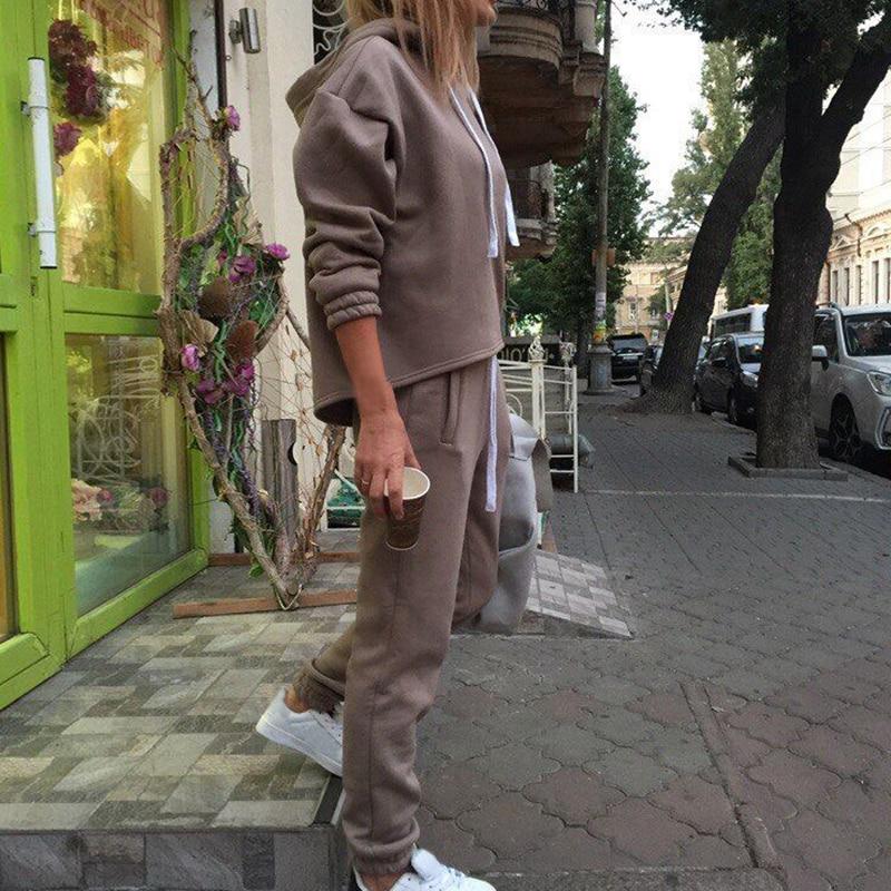 2020 feminino 2 peças outfits-sólido pulôver sweatsuits manga longa pulôver moletom magro calças compridas conjunto de treino de fitness