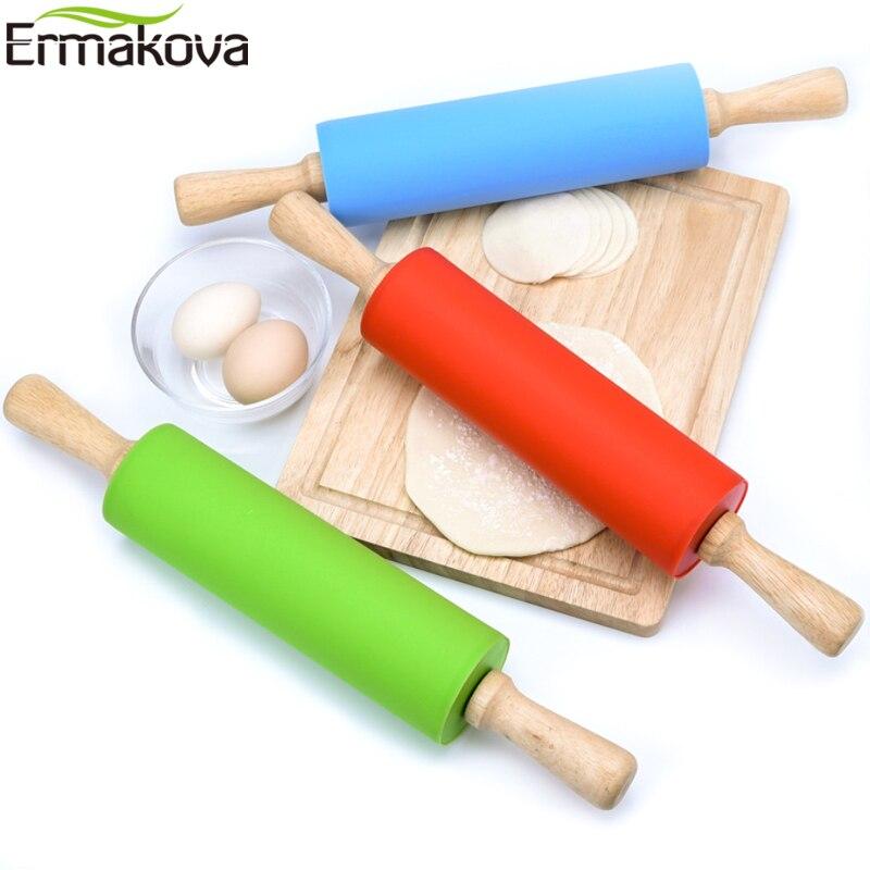 ERMAKOVA силиконовая Скалка с деревянной ручкой тесто ролик тесто пицца выпечка пирог паста и печенье инструменты для выпечки