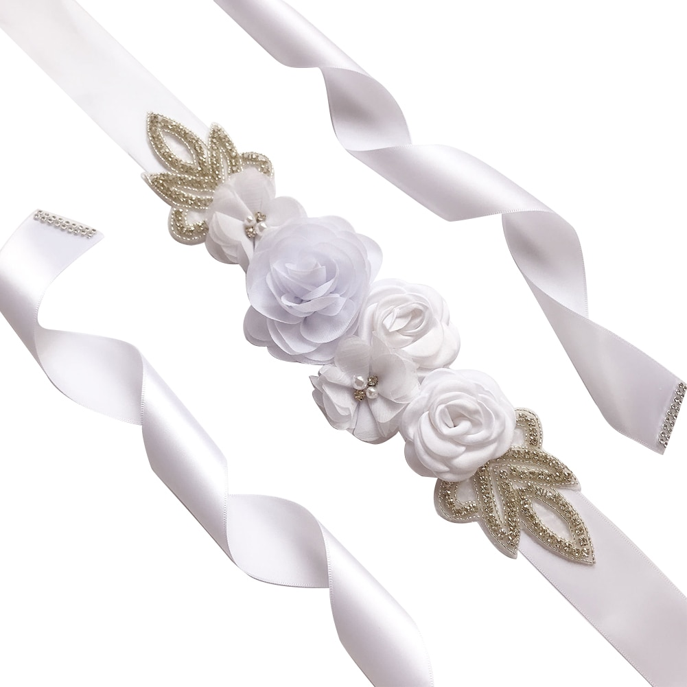 Adornos cinturón imitación Rosa flor elegante cuentas perlas diamantes de imitación cinturón de boda accesorios del vestido de novia hecho a mano
