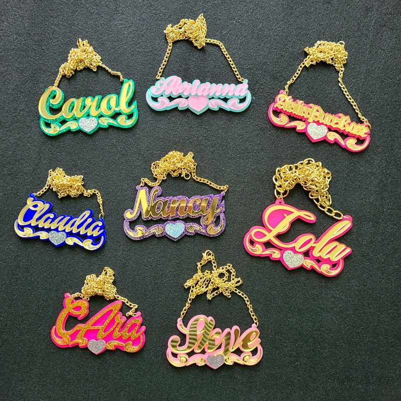 Child's Custom  Baby Name Necklaces Women Kids Gifts Personalized Nameplates Acrylic laser Cut Jewrlry