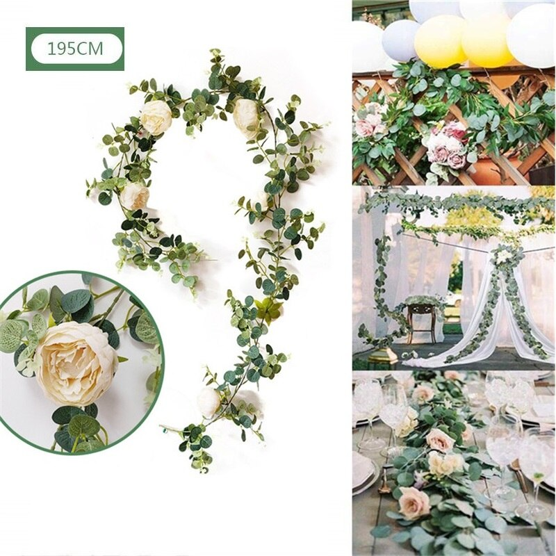 Eucalipto Artificial flor vid con Rosa peonía Wisteria verde para fiesta de boda Fondo DIY guirnalda casa Decoración de mesa