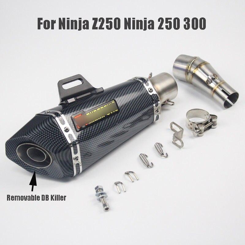 Motorcycle Exhaust Muffler Pipe Silencer Tip Middle Mid Link Tube Slip on Exhaust System for Kawasaki Ninja 250 Ninja 300