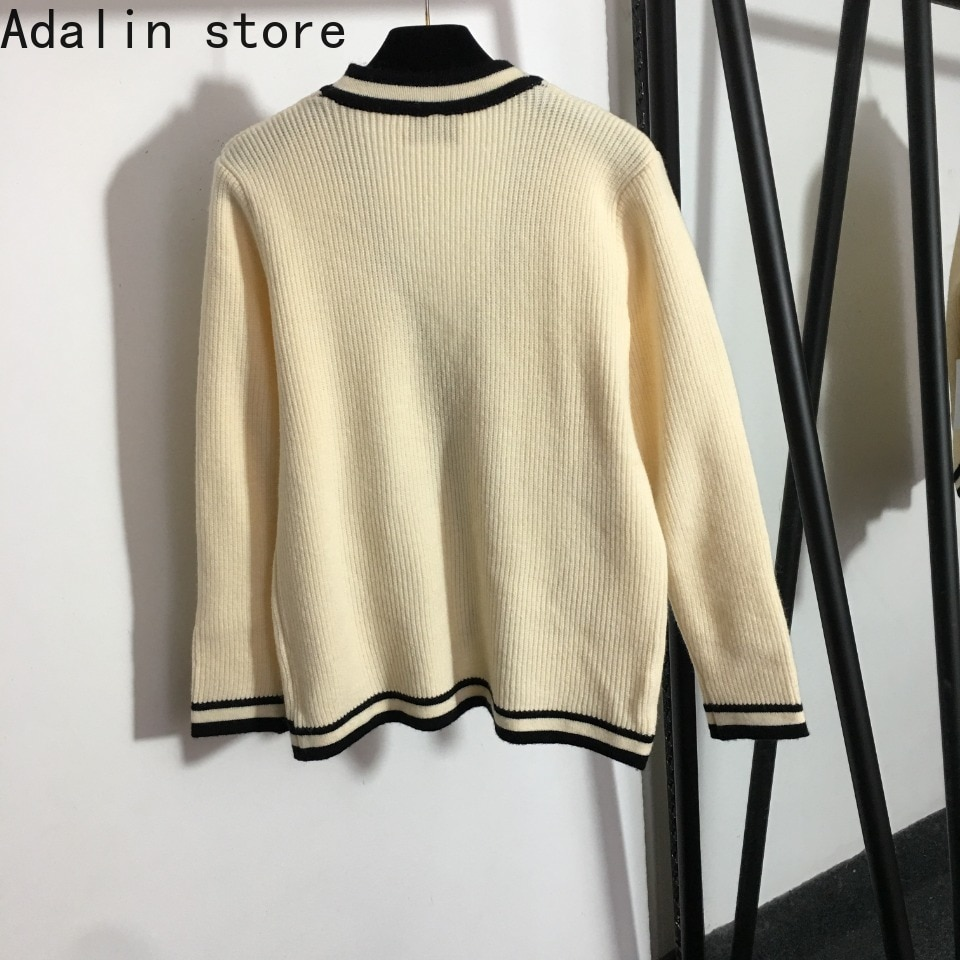 2021 high quality autumn and winter new fashion women's single breasted V-Neck long sleeve knitted cardigan coat women's sweater enlarge