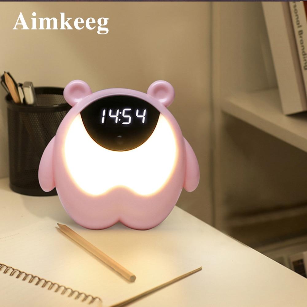 Despertador pequeño RGB con luz de alarma, bonito Despertador con patrón de oso con música, regalo infantil, lámpara de mesa de decoración