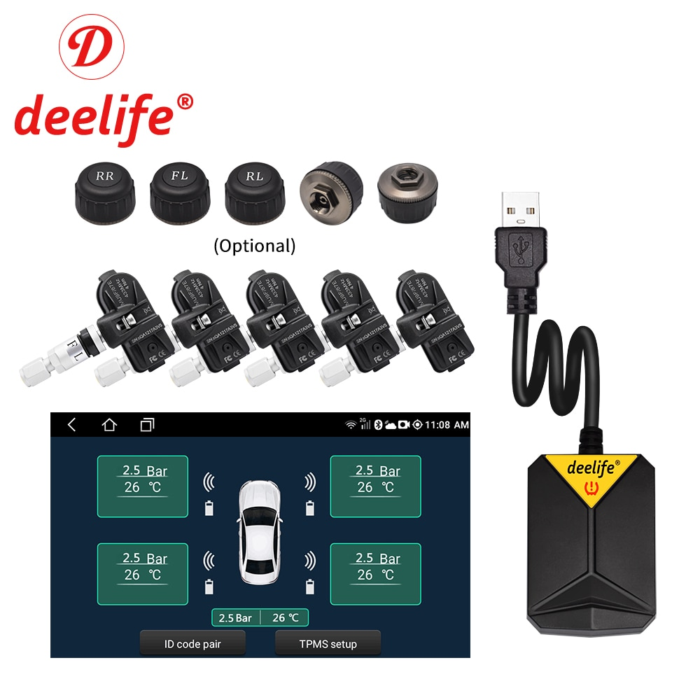 Deelife Android TPMS for Car Radio DVD Player Tire Pressure Monitoring System Spare Tyre Internal External Sensor USB TMPS
