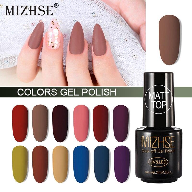 MIZHSE Matte Top Coat Lucky Color UV Gel Nail Polish Semi Permanent Soak Off UV Gel Base Matt Top Nail Art Varnish Manicure