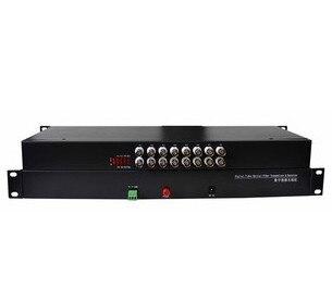 مجموعة واحدة من 2 قطعة FB-91600 رف-شنت 16-قناة فيديو البصرية الإرسال والاستقبال 16-قناة النقي الفيديو 16V أحادية النمط الألياف واحد FC