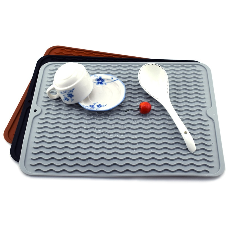 Tapete plegable de goma suave para fregadero, esterilla protectora antideslizante para secado de platos y fregadero de cocina